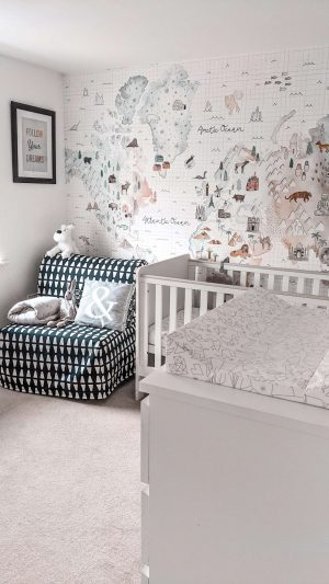 map of the world wall mural in nursery