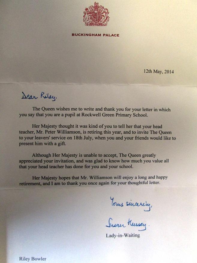 Queen replies to rileys invitation around wellington letter stopboris Choice Image