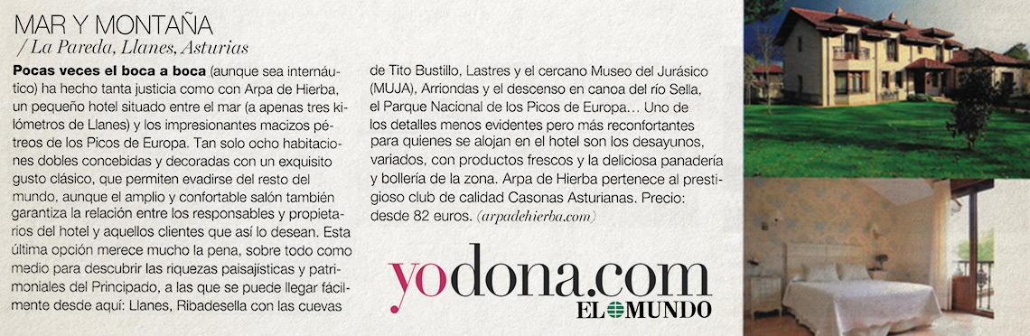 Artículo revista Yo Dona en Hotel Rural Arpa de Hierba La Pereda Llanes
