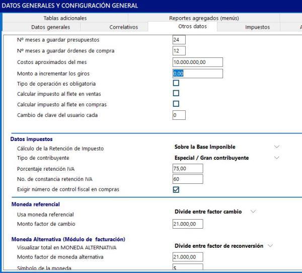 otros datos configuración Enterprise
