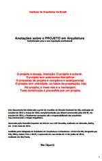 IAB - Anotações sobre o PROJETO em Arquitetura