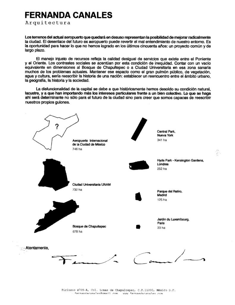 Fernanda Canale carta al alcalde