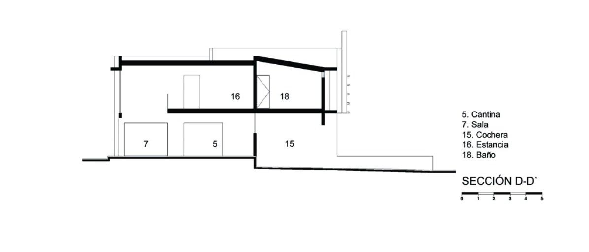 Casa E - Agraz Arquitectos / Corte D-D