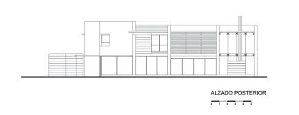 Casa E - Agraz Arquitectos / Alzado Posterior Poniente