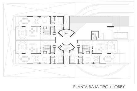 Tamarindos 29 - Garduño Arquitectos - Planta Lobby