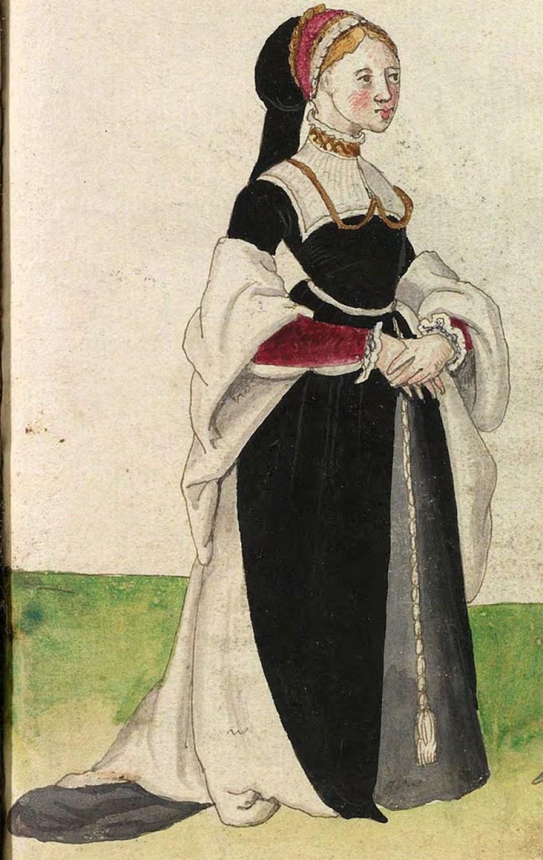1540s Gelders nobility. Fig. 1, plate 33r, Codice de trajes, Christoph Weiditz. BNE: bdh0000052132
