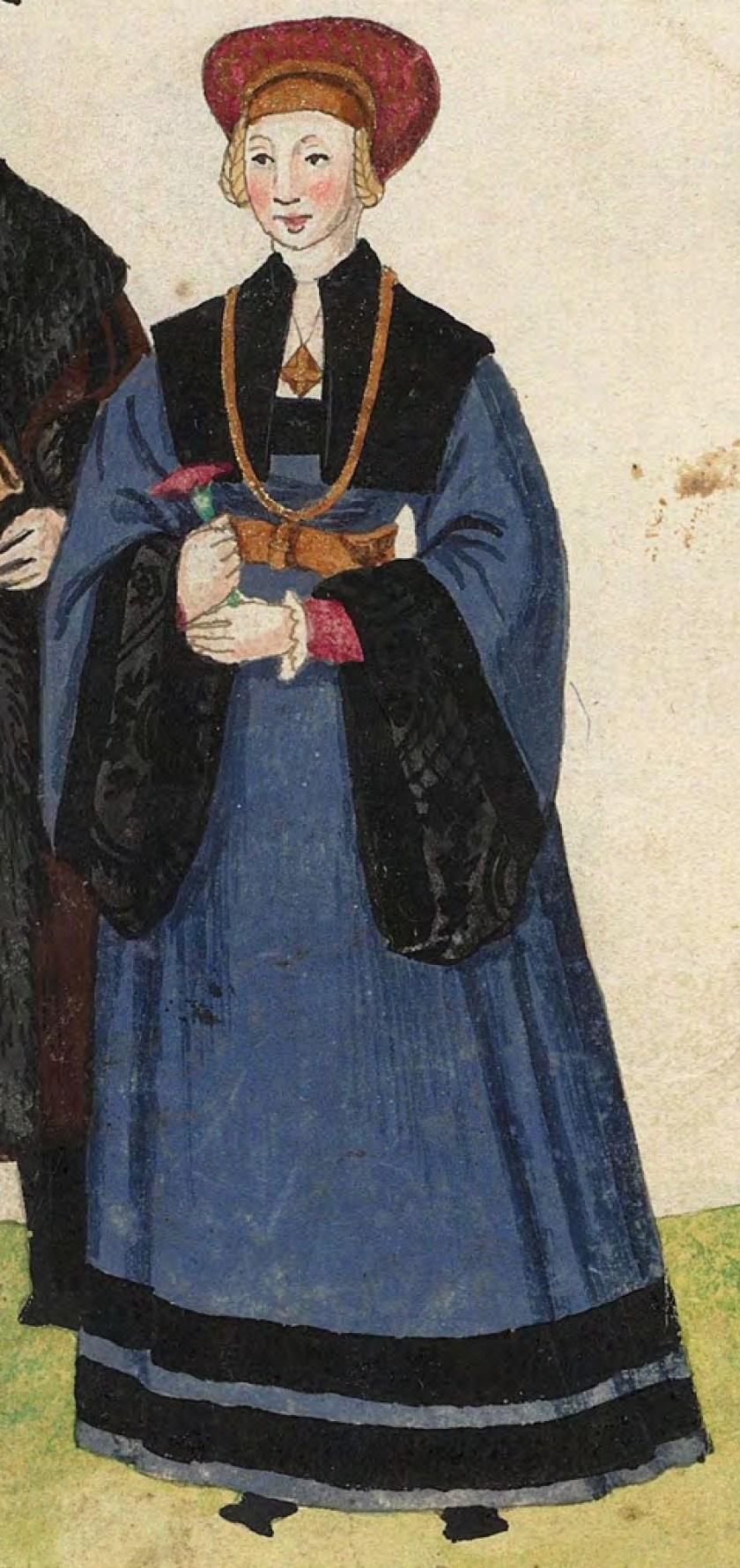1540s Cologne Burger. Fig. 3, plate 43v, Codice de trajes, Christoph Weiditz. BNE bdh0000052132