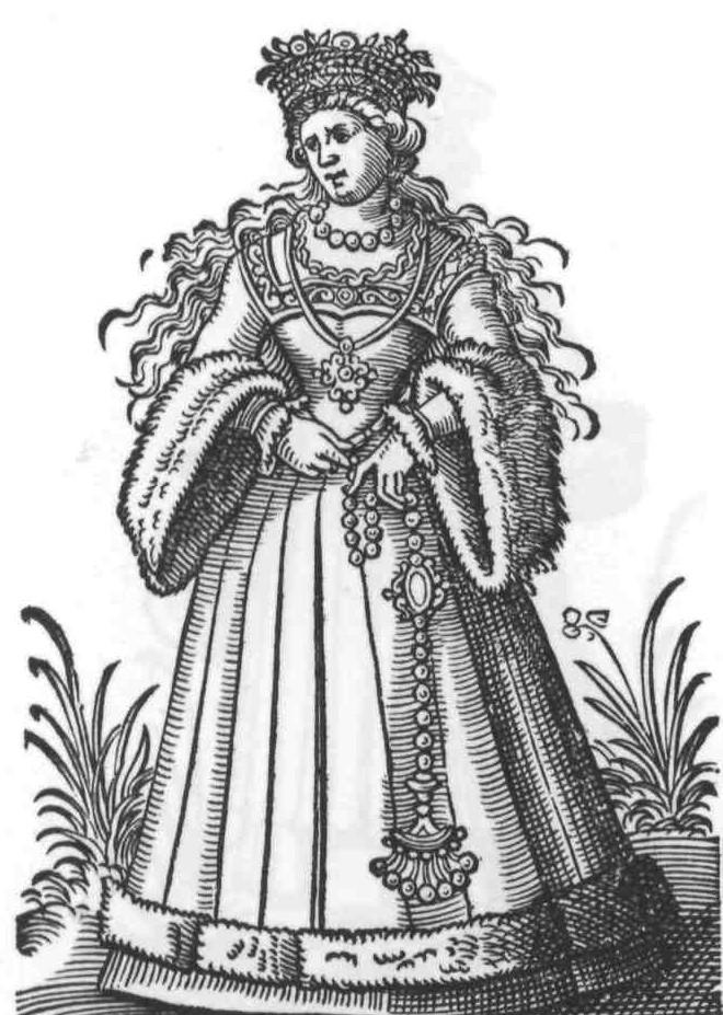 """1586 Cologne, bride. Page 54, Im Frauwenzimmer wirt, Amman (printer: Weigel and Author: Lautenbach.). Wikicommons, Bibliophilen Taschenbücher"""", Dortmund 1980"""