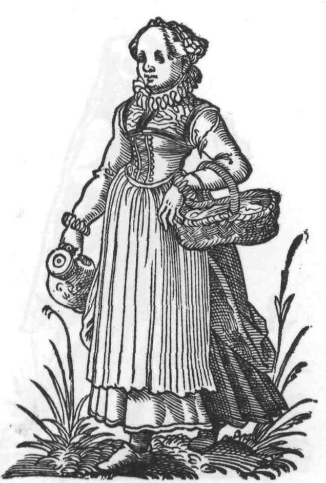 """1586 Cologne, maid. Page 55, Im Frauwenzimmer wirt, Amman (printer: Weigel and Author: Lautenbach.). Wikicommons, Bibliophilen Taschenbücher"""", Dortmund 1980"""