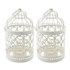 Ciaoed 2PCS Stile Gabbia Per Uccelli Modello Vuoto Portacandele in Ferro Creativo Intagliare Modello Candelabro Arti Per la Decorazione Della Festa Nuziale