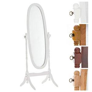 CLP Specchio Autoportante Cora in Legno | Specchio da Terra Ovale con Cornice Specchio Figura Intera 150 x 50 cm | Specchio Lungo Orientabile Camera da Letto Bianco