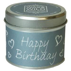 Country Candle Candela profumata in Latta con Scritta Happy Birthday.