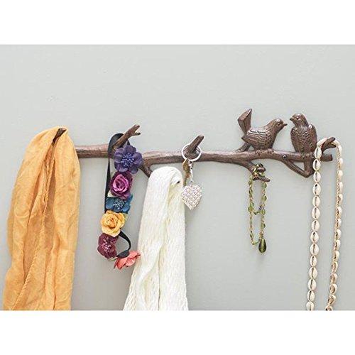 Ghisa uccelli su ramo con 6 ganci appendiabiti   Scaffale a muro decorativo in ghisa   Per cappotti, cappelli, chiavi, asciugamani, vestiti   18.5x2x4.5 - Con viti e ancoraggi di Comfify