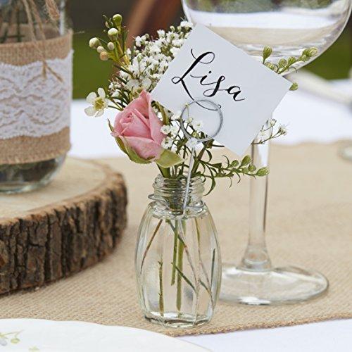 Ginger Ray mini vaso in vetro e supporto segnaposto segnaposto–Set da 4pezzi–rustico Country