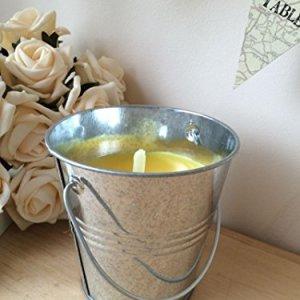 Homes on Trend 07936- Candela alla citronella in secchio in acciaio, 10x 10cm, colore: Argento