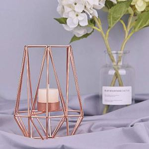 KOBWA Porta Candela Metallo Geometrico Metallo Filo di Ferro Lanterna portacandela Lanterna Wedding Vacanze Eventi Party Decorazioni, Rose Gold, High Shape