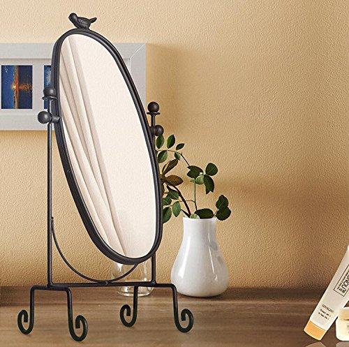 Mangeoo Creative in Stile Europeo di Ferro battuto Specchio, Desktop Semplice da Tavolo ellittico, Retro Princess Specchio, HD Super Grande Specchio,Marrone Scuro