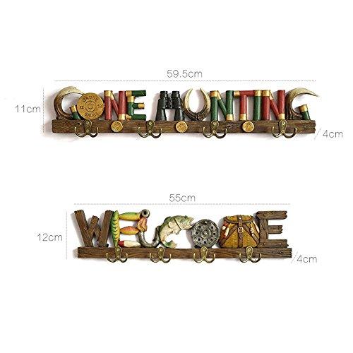 MsPanPan Hooks Gancio da parete in resina decorativa stile country Gancio appendiabiti Appendiabiti creativo Portachiavi per porta d'ingresso (dimensioni : 55cm)