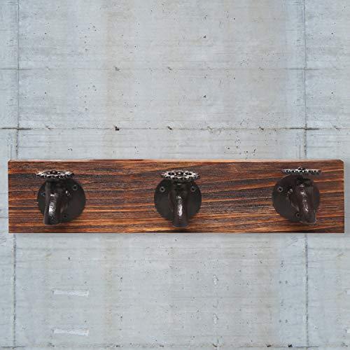 MyGift Country Rustic Old Fashion Rubinetto a Parete in Ferro e Legno 3Ganci Appendiabiti Porta Abiti, Asciugamani, Cappello Hanger Rack