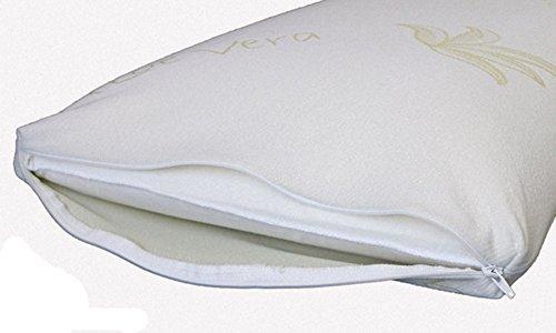 Nicoflex - Coppia Cuscini in Memory Foam Modello Saponetta 72x43x13 cm - Fodera Aloe Vera 100% Cotone - Guanciale Cervicale Antiacaro e Antibatterico - Made in Italy