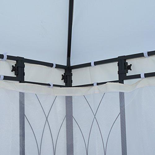 Outsunny Gazebo da Giardino Tendone per Esterno con Zanzariera, Impermeabile in Poliestere Ferro Crema 300 x 400cm