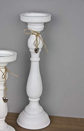 Portacandela in legno con ciondolo a cuore in argento, in stile country, 27 x 12 cm, bianco, piccolo, Legno, bianco, Grande