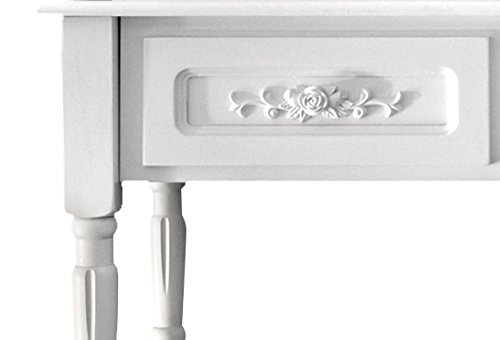 Rebecca Mobili Consolle Classica, scrivania Bianca 4 cassetti, Legno, Bagno Ingresso Camera - Misure: 75 x 87 x 45 cm (HxLxP) - Art. RE4169