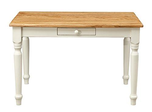 Scrittoio scrivania in legno massello di tiglio - Stile Country, Shabby - Struttura bianca anticata piano finitura naturale 120x80x80