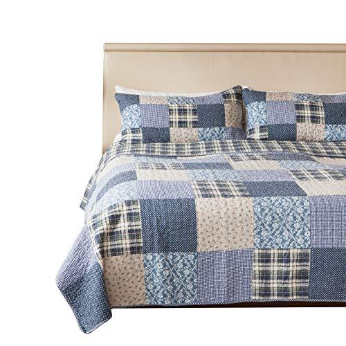 """SLPR copriletto trapuntato patchwork vintage in stile country""""Blue Symphony"""" con 1 federa (173cm x 224cm)   Copriletto lavabile in lavatrice leggero e reversibile"""