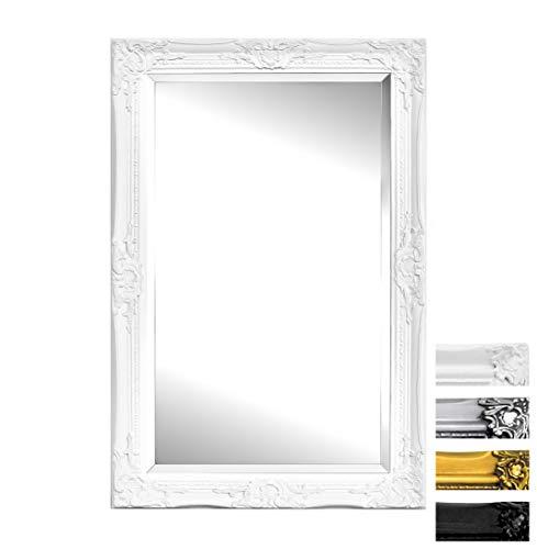 Specchio da Parete in Stile Shabby Chic - Legno Massello - Fatto a Mano - Barocco - Grandi - 90x60 cm - Antico Bianco - Rococo