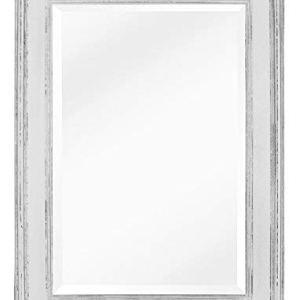 Specchio in Stile Shabby Chic - Legno Massello - Fatto a Mano - Grandi - 90x60 cm - Bianco Vintage