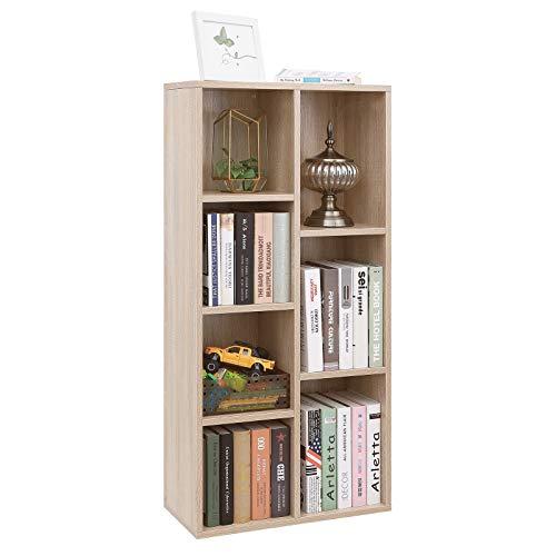VASAGLE Libreria di Legno con 7 Ripiani, Portadocumenti e Libreria Autoportante, Stand TV, Scaffale da Esposizione, 50 x 24 x 106 cm (L x P x A), Rovere LBC27NL