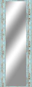 Wallazz Specchio specchiera da Parete, con Cornice in Legno Made in Italy, Stile Shabby Chic, Vintage, Country, Dimensione Esterna 70X100 cm, Colore Azzurro