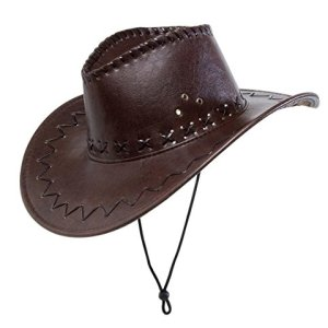 WIDMANN Cappello Cowboy Marrone Con Cuciture Similpelle Cappello Party 237