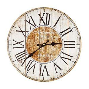 Orologio ARREDO da Parete Rotondo in Legno Bianco Effetto Anticato Paris Shabby Chic PROVENZALE Country Vintage