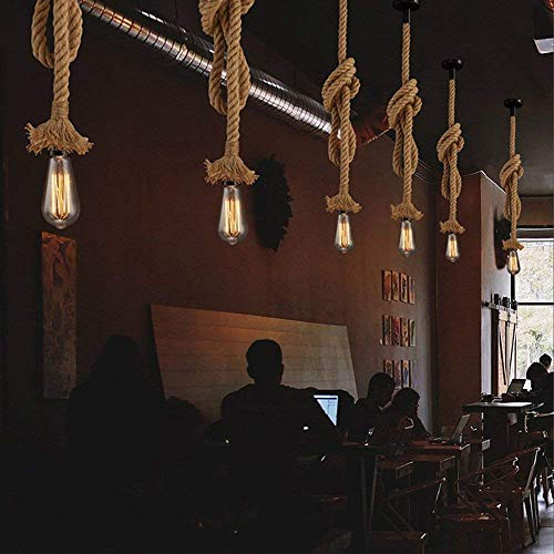 STARRYOL Corda per canapa di E27 Luce pendente dattaccatura Vintage Illuminazione da soffitto industriale in stile country perfetto per il ristorante della sala da pranzo Bar Cafe  60CM