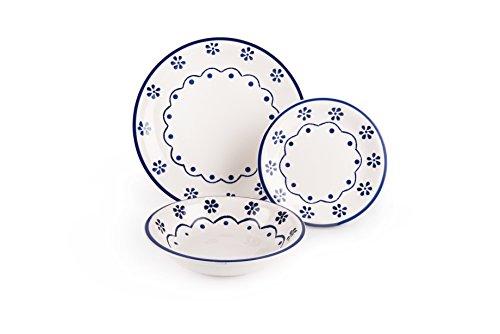 Excelsa Old Cottage Servizio Piatti 18 Pezzi Ceramica Bianco e Blu