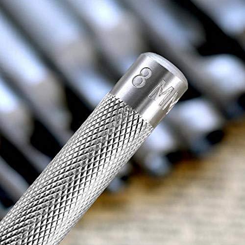 10 Pezzi Rotondo Punzone Cavo in Acciaio Set Punzone Tonda dAcciaio Cavo per Cuoio Craft Buco Concavo Punzoni per Pelle Cinturino per Orologio Tela Occhiello2512mm
