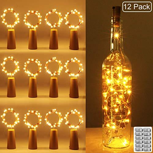 12 pezzi Luci per Bottiglia kolpop Tappi LED a Batteria per Bottiglie Filo di Rame Led Decorative Stringa Luci da Interni e Esterni per Festa Giardino Natalizie Matrimonio Bianco Caldo
