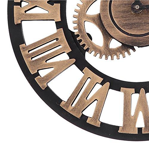 3D Vintage Orologio Parete Mano Numero Romano Fatto Orologi Muro Orologi Industriali Retr Europei Decorazione Artistica per Ristorante Ufficio Bar Cucina Studio Negozio Abbigliamento 30cm Gold