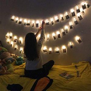 40 LED Foto Clip Stringa Illuminazione 5m LEDs Foto Clips Mollettefoto clip luci di stringa Batteria Alimentato LED Immagine Illuminazione per CasaMatrimoniofesta di compleanno Bianca Calda