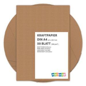 50 fogli di Carta Kraft DIN A4 280 grmq Natura in cartone di alta qualit Ideale per FAI DA TE E DIY Marrone invito matrimonio carte rattoppare