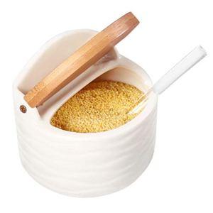 77L Zuccheriera 250 ML 852 FL OZ Zuccheriera con Cucchiaino da Zucchero e Coperchio in Bamb per Casa e Cucina Servire per zucchero sale spezie e altro Bianco