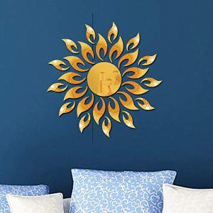 Adesivi murali specchio di girasole 3D rotondo acrilico soggiorno camera da letto TV sfondo decalcomanie della parete camera matrimoniale ingresso Home Decor oro