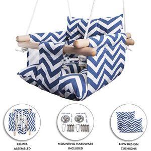 Altalena in tela di Cateam  Blu  Sedile da altalena appeso in legno per bambino con cintura di sicurezza e accessori di montaggio Regalo di compleanno per sedia amaca bambino