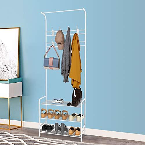 alvorog Appendiabiti Portabiti con Ripiani Scarpiera per Ingresso Corridoio in Metallo con Ganci Rimovibili Bianco 635 x 29 x 180 cm Bianco
