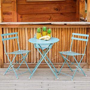 Amagabeli Set da Bistrot 1 Tavolo tavolinoH90 x D75cm e 2 Sedie H83 x W42 x D38cm arredi da Balcone in Pieghevole Giardino Veranda e terrazza Set di Arredamento per Esterni in antiruggine Azzurro