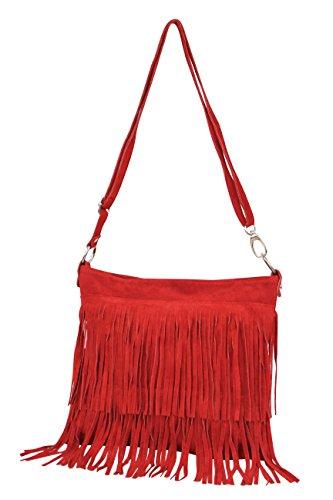 Ambra Moda borsa a mano donna borsa a tracolla a frange borsa a spalla donna in vera pelle scamosciata cm 32 x 29 cm x 2 cm WL809 Rot