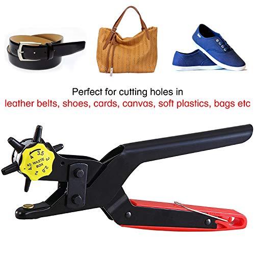 Ansio Perforatore di cuoio  Girevole Professionale Pinza resistente Strumento di punzonatura di dimensioni comprese tra 2 e 45 mm per cinture scarpe carte tela borse plastica morbida
