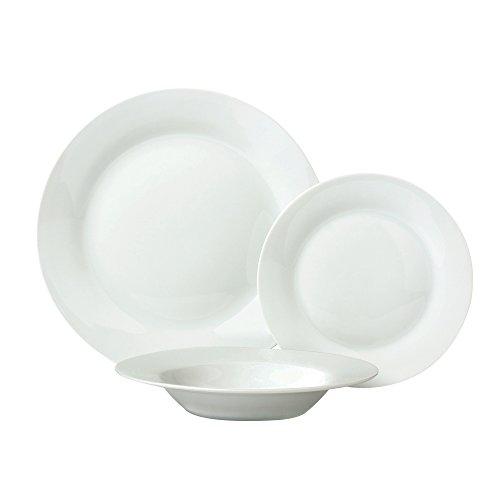 Ansio set da 12 stoviglie in porcellana bianca con piatti piani piatti da dessertpiatti fondi servizio per 4 persone regalo perfetto per Natale